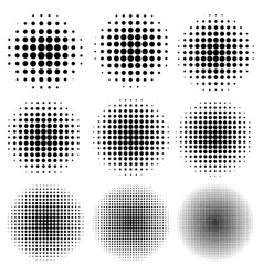 set the circle effect halftone dot pattern vector image