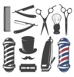 Set vintage barber shop elements vector