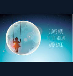 silhouette of little girl on a swing against vector image