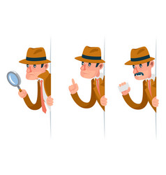 Snoop detective magnifying glass tec peeking out vector