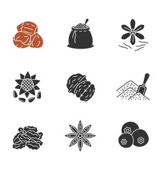 Spices glyph icons set vector