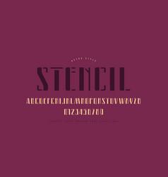 Stencil-plate narrow sans serif font vector