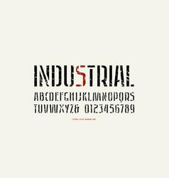 Stock stencil-plate sans serif narrow font vector