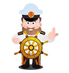 The captain at the helm is a cartoon funny vector