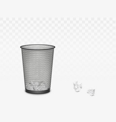 Trash can with crumpled paper inside and around vector
