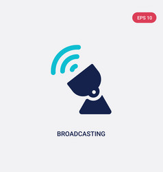 Two color broadcasting icon from communications vector
