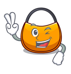 Two finger beautifully hobo bag on character funny vector