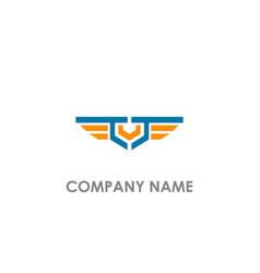 v initial emblem wing logo vector image