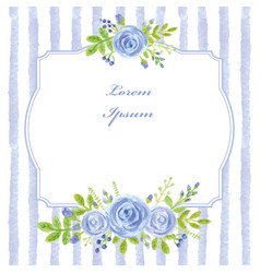 Vintage cardwatercolor blue rosestripslabel vector