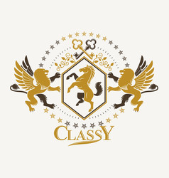 Vintage decorative emblem composed with mythology vector