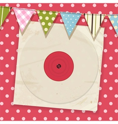 Vintage record and sleeve with bunting on a pink vector