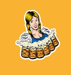 Waitress brings glasses of beer vector
