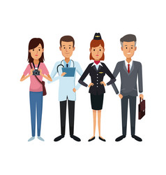 white background with group people of different vector image