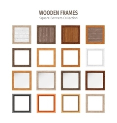 Wooden Square Frames Set vector image