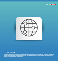 world globe icon - blue sticker button vector image