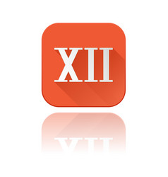 Xii roman numeral orange square icon with vector