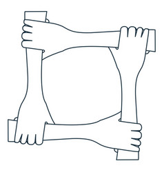 circle of figure hands icon vector image