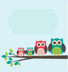 Cute owl family with place for text vector