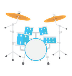 drum kit flat icon music and instrument vector image