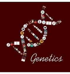Genetic science symbols in DNA shape icon vector image vector image
