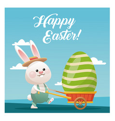 happy easter bunny carrying egg blue sky vector image
