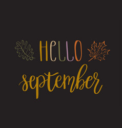hello september lettering text vector image vector image