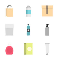 packing container icons set flat style vector image vector image
