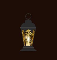 ramadan kareem black lantern in oriental style vector image vector image