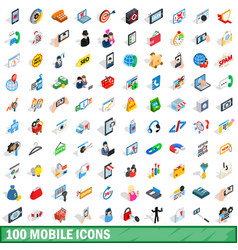 100 mobile icons set isometric 3d style vector image vector image