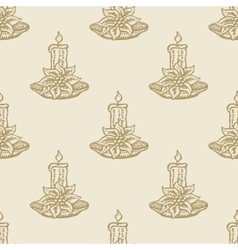 christmas candle flower pattern seamless vector image vector image