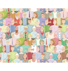 Colorful Many People Throng Tileable Background vector image vector image