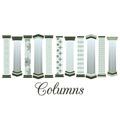 Columns with a pattern set vector image