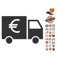 euro car icon with lovely bonus vector image vector image