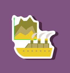 paper sticker on stylish background cruise ship vector image