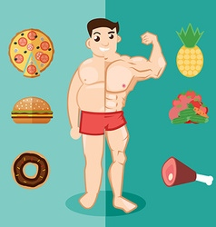 Unhealthy lifestyle fat man obesity Man before and vector image