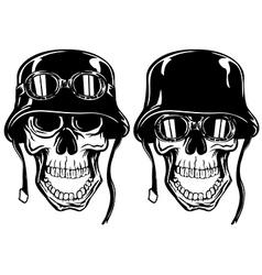 skull in helmet with goggles vector image vector image
