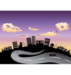 Sunset City and Road Silhouette3 vector image vector image