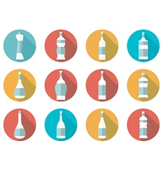 Bottle of water flat icon with long shadow vector image