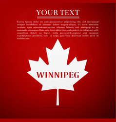 canadian maple leaf with city name winnipeg vector image vector image