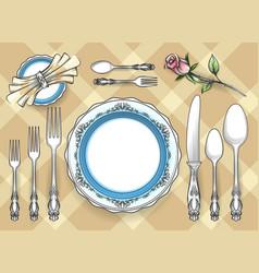 cutlery set sketch vector image vector image