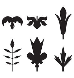 Decorative black leaves pattern set isolated vector image vector image