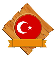 flag of turkey on wooden board vector image