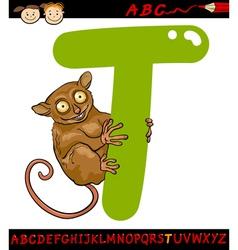 letter t for tarsier cartoon vector image vector image