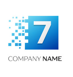 number seven logo symbol in the colorful square on vector image