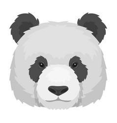 panda icon in monochrome style isolated on white vector image vector image
