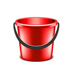 Red bucket isolated on white vector image
