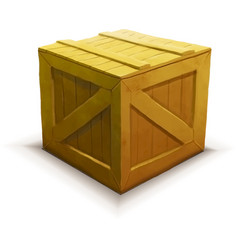 Yellow wooden crate realistic icon isolated on vector image vector image