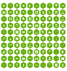 100 doctor icons hexagon green vector