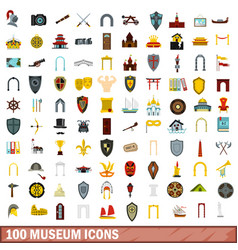 100 museum icons set flat style vector