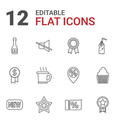 12 label icons vector image